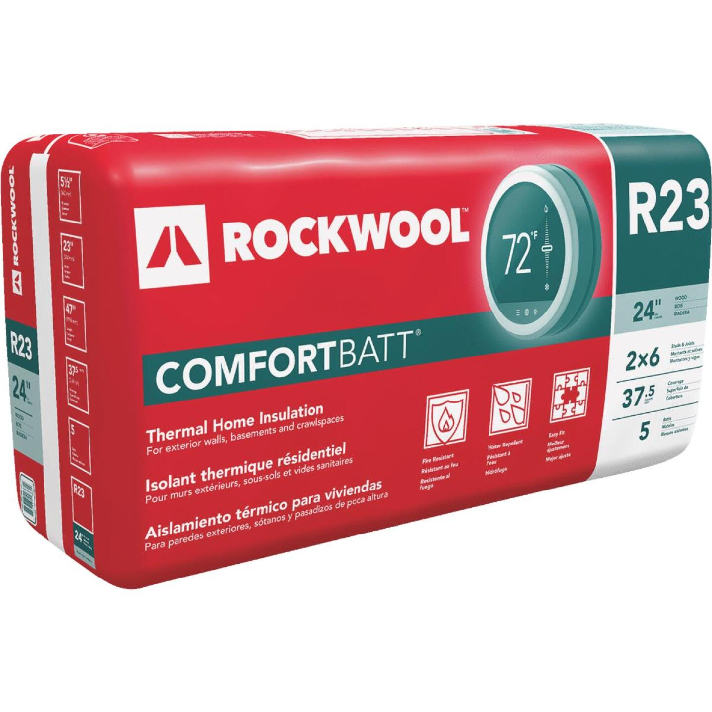 Rockwool Comfortbatt R-23 24 In. x 47 In. Stone Wool Insulation (5-Pack) Image 1