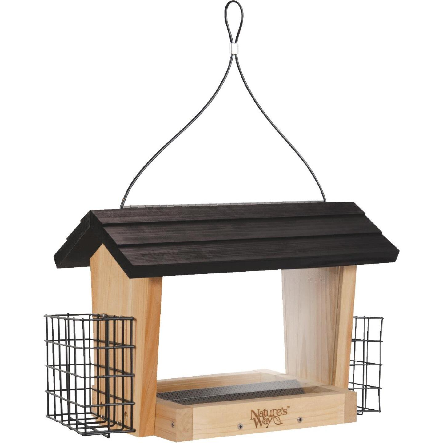 Nature's Way 6 Qt. Natural Cedar Hopper Bird Feeder with Suet Cages Image 1