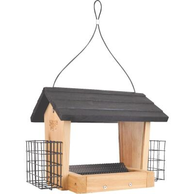Nature's Way 3 Qt. Natural Cedar Hopper Feeder with Suet Cages